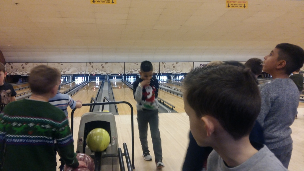 Eagles players on the bowling alley