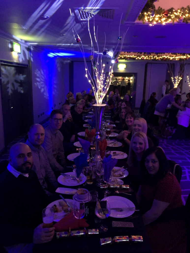 U7, U8s and U10s parents table at their christmas meal