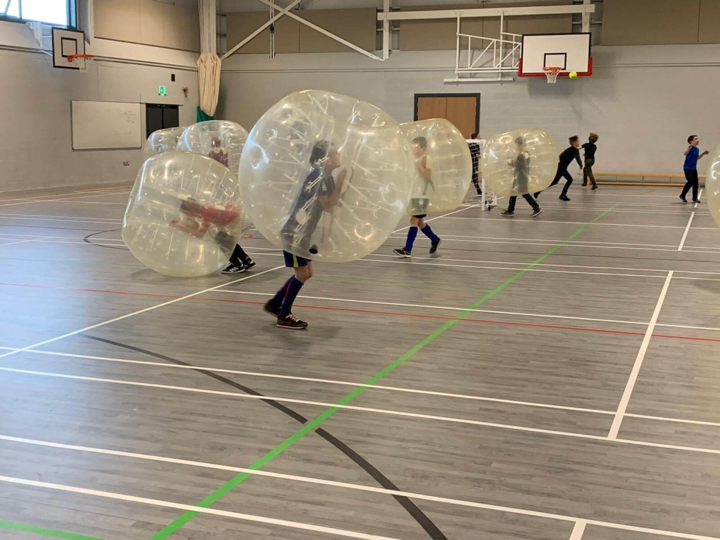 Players getting used to their zorbs!